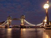 Tower Bridge At Night Illuminated By Floodlights. Night Cityscape With Tower Bridge, London, Uk. Lon poster