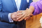 Bride And Groom Marriage Hands With Wedding Rings. Groom Hand Putting Wedding Ring On Bride Finger.  poster