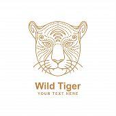 Tiger Head Line Art Design Isolated White Background. Tiger Icon Isolated On White Background From J poster