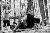 Dad Is Always Busy. Family Day Concept. Family With Kid Boy Relaxing In Forest. Mother And Little Pl poster