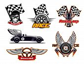 Motor Sport Symbols, Racing Club Isolated Icons. Vector Racer In Protective Helmet, Racing Checkered poster