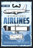 Movable Passengers Boarding Ramp With Ladder Of Airplane. Aircraft Steering Wheel And Blue Clouds In poster