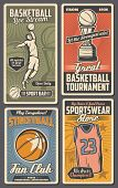 Basketball Sport Game, Street Ball Fan Club Vector. Trophy Cup And Sportswear Store, Player Throwing poster