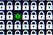 Bug As A Symbol Of Malware And A Trojan Virus In The Program Code. Hacking And Theft Of Personal Inf poster