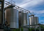Stainless Tanks For Processing And Fermentation And Processing Of Grapes. Wine Production In Spain,  poster