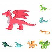 Vector Design Of Creature And Animal Symbol. Set Of Creature And Medieval Stock Symbol For Web. poster