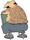 foto of pubic  - This illustration depicts a chubby man with a hairy back sitting on a chair - JPG