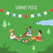 Summer Picnic. People On A Picnic.picnic Party. Vector poster