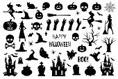 Halloween Icons Silhouettes. Halloween Icons. Vintage Texture Effect. Happy Halloween. Vector poster