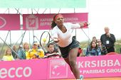 KHARKOV, UKRAINE - APRIL 21: Match between Serena Williams (pictured) and Elina Svitolina during Fed