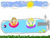Child Like Drawing Of Pool Time Fun
