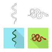 Isolated Object Of Mammal And Danger Symbol. Collection Of Mammal And Medicine Stock Symbol For Web. poster
