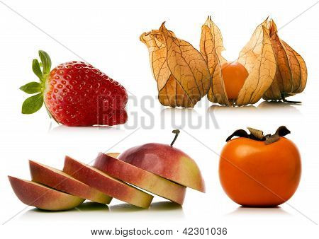 Fruit Set Over White Background