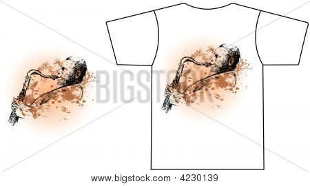 Saxophone Player On A Grunge Background
