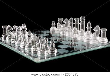 Glass Chess Over Black
