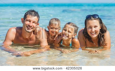 Happy family in the sea
