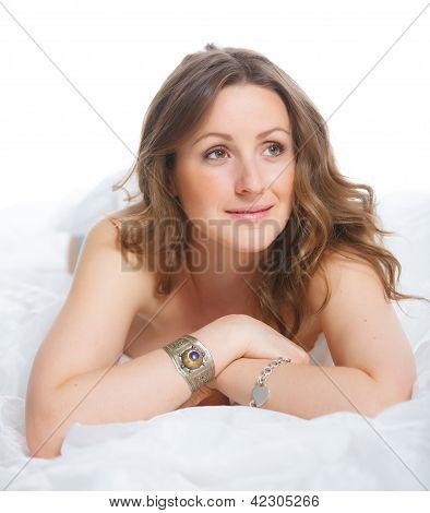Beautiful female holding roses