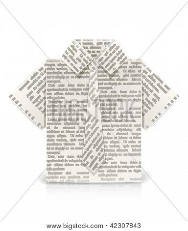 shirt origami toy. Vector Illustration.