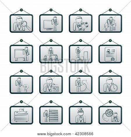 Business, management and hierarchy icons