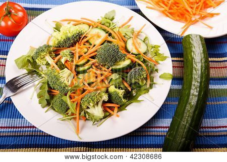 Salad With Cucumber Tomato And Fork