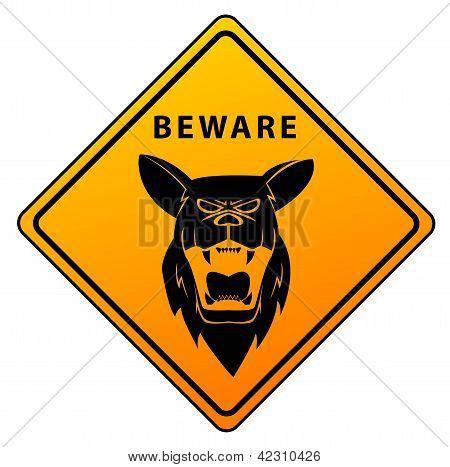 Warning Sign Shepherd Dog