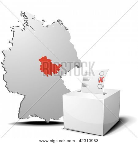 detailed illustration of ballot box in front of a 3D outline of Germany with a red marked province Thuringia, eps 10