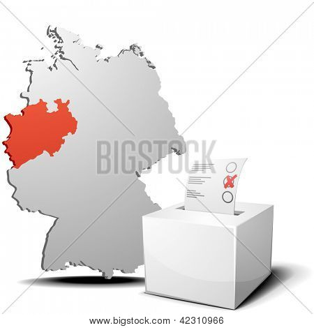 detailed illustration of ballot box in front of a 3D outline of Germany with a red marked province North Rhine-Westphalia, eps 10