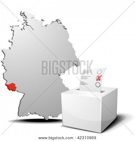 detailed illustration of ballot box in front of a 3D outline of Germany with a red marked province Saarland, eps 10