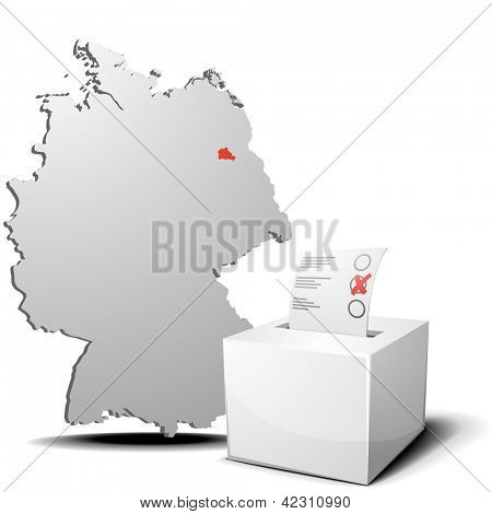 detailed illustration of ballot box in front of a 3D outline of Germany with a red marked province Berlin, eps 10