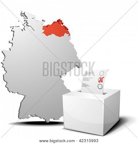 detailed illustration of ballot box in front of a 3D outline of Germany with a red marked province Mecklenburg-West Pomerania, eps 10