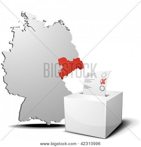 detailed illustration of ballot box in front of a 3D outline of Germany with a red marked province Saxony, eps 10