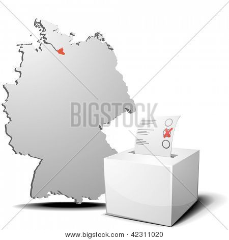 detailed illustration of ballot box in front of a 3D outline of Germany with a red marked province Hamburg, eps 10