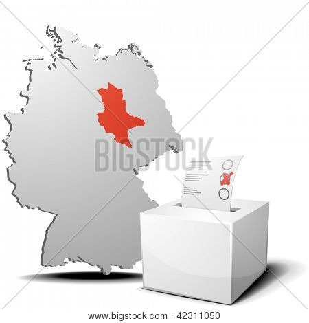 detailed illustration of ballot box in front of a 3D outline of Germany with a red marked province Saxony-Anhalt, eps 10