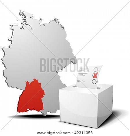 detailed illustration of ballot box in front of a 3D outline of Germany with a red marked province Baden-Wuerttemberg, eps 10