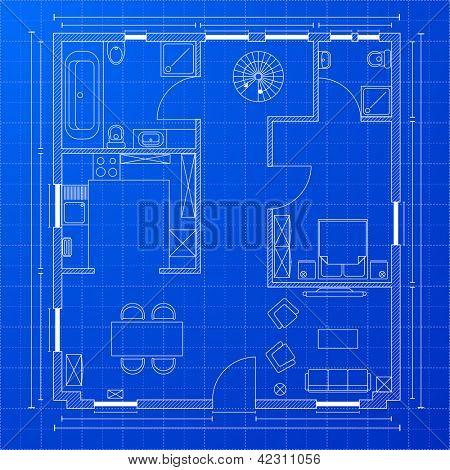 detailed illustration of a blueprint floorplan, eps 10