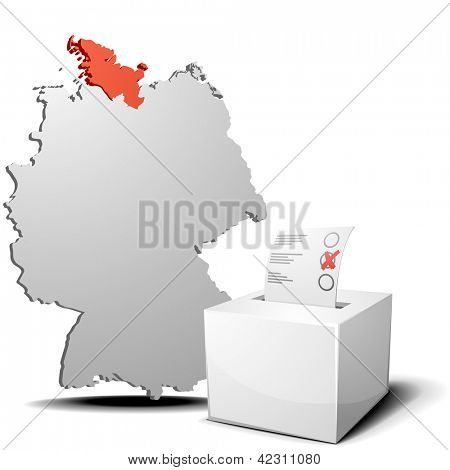 detailed illustration of ballot box in front of a 3D outline of Germany with a red marked province Schleswig-Holstein, eps 10