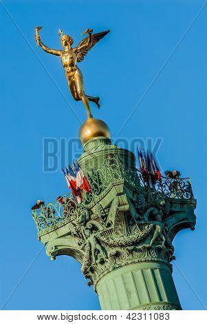 place de la bastille column  in the city of Paris in france