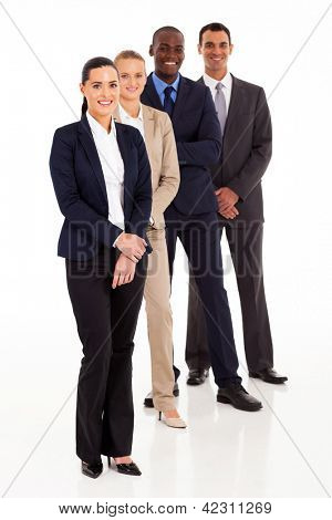 business team full length portrait on white