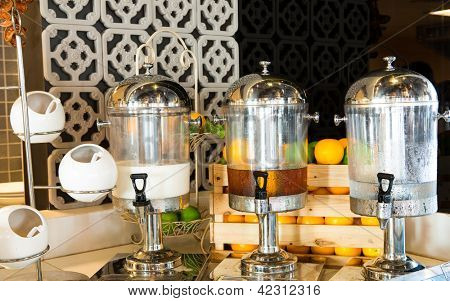 Fruit juice on buffet table