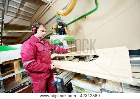 Manufacture process of carpenter work with wood door at machining center during furniture manufacture
