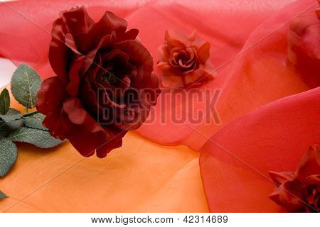 Red Flower with Green Sheets on red underlayment