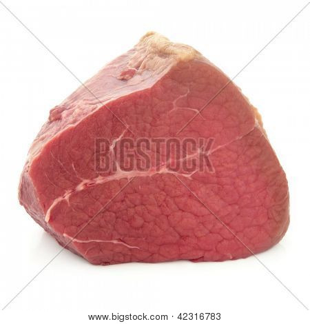 Fillet of beef meat joint over white background.