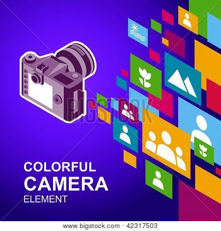 photo camera image icon colorful media element background