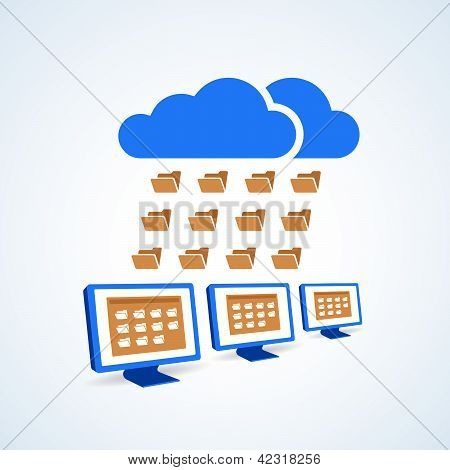 Copmutre Desktop Pc Folder Clouds Icon