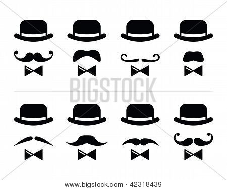 Gentleman icon - man with moustache and bow tie set