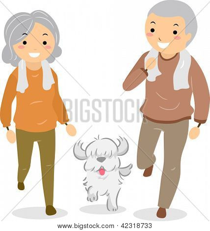 Illustration of Stickman Senior Couple Walking their Dog