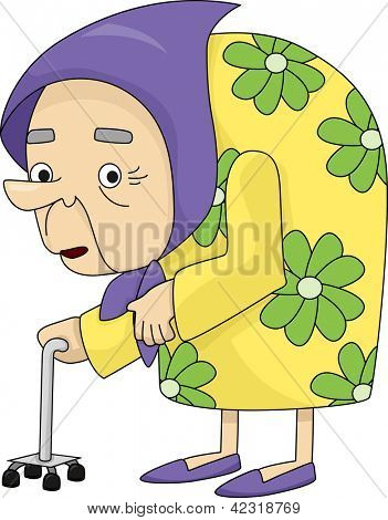 Illustration of An Old Lady bent down with Osteoporosis