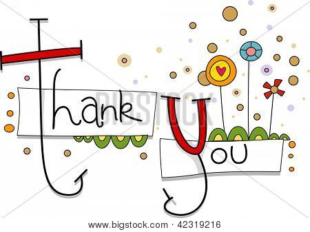 Illustration of a Thank You Card with Whimsical Flowers in the Background