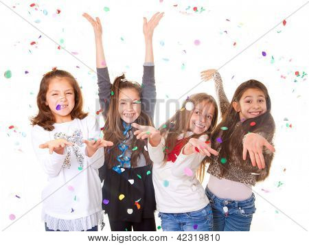 children celebrating party to celebrate birthday or new year.