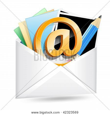 Envelope With Email Sign, Photos And Pencil